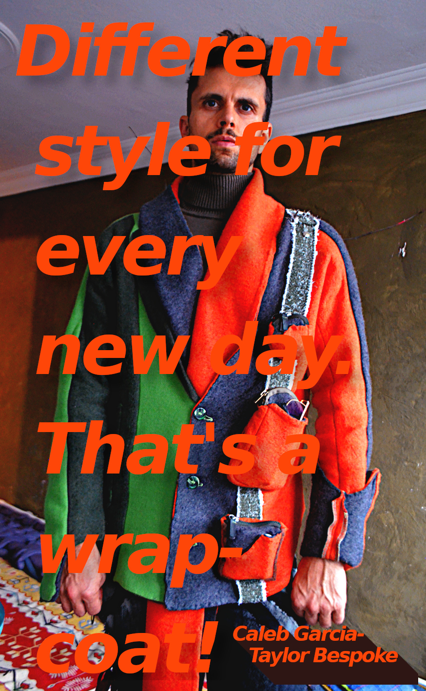 The wrap-coat styled overcoat orange green wool overcoat. Style 5.