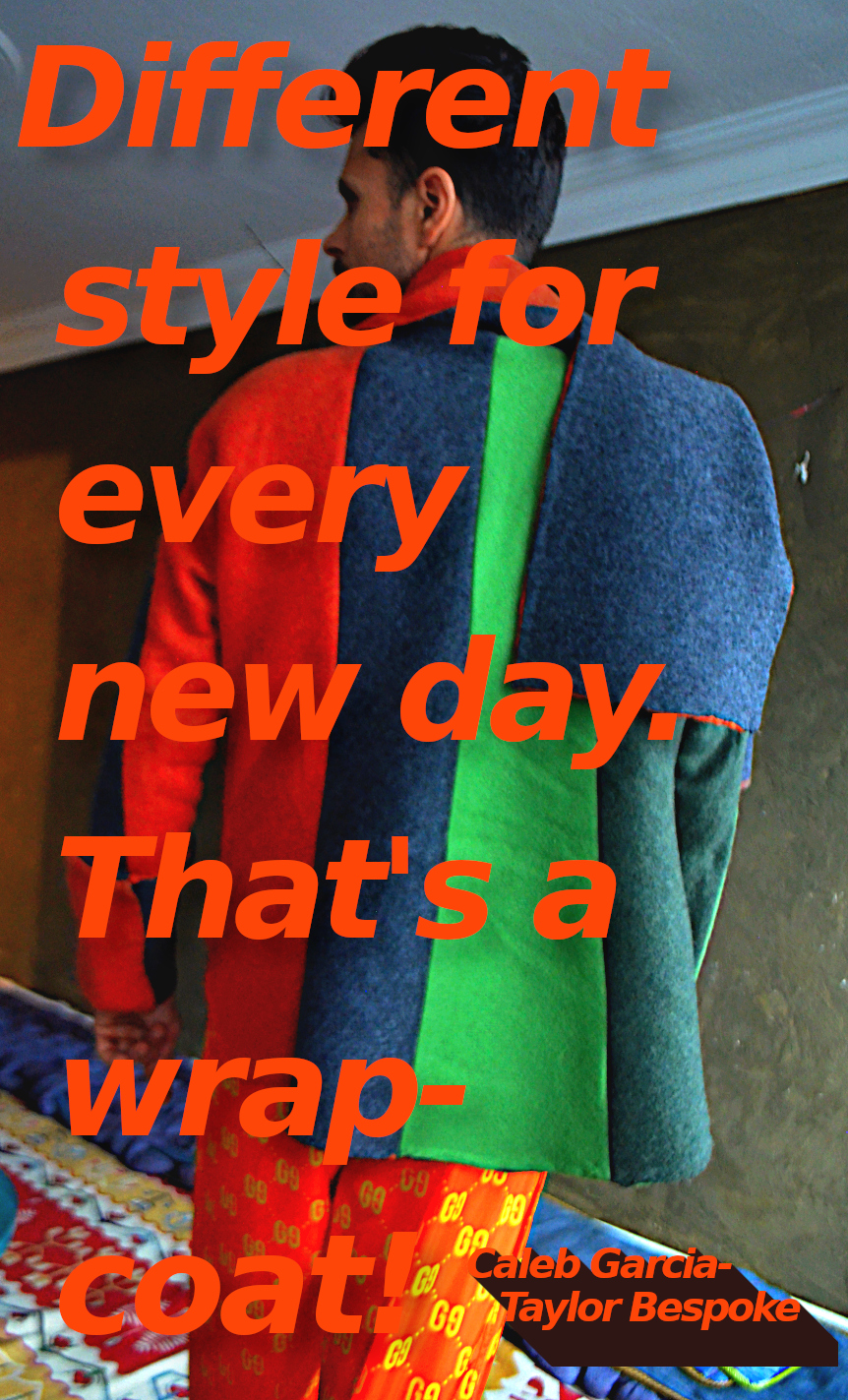 The wrap-coat styled overcoat orange green wool overcoat. Style 7.