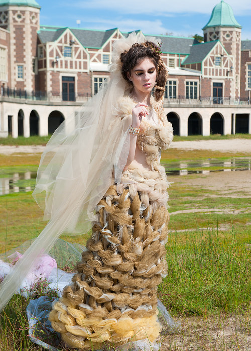 A unique wedding dress for a princess Ombre unique wedding dress with a graduation in shades of warm neutrals. Wearables and spa treatment features. Custom couture under 3k. No fittings necessary.
