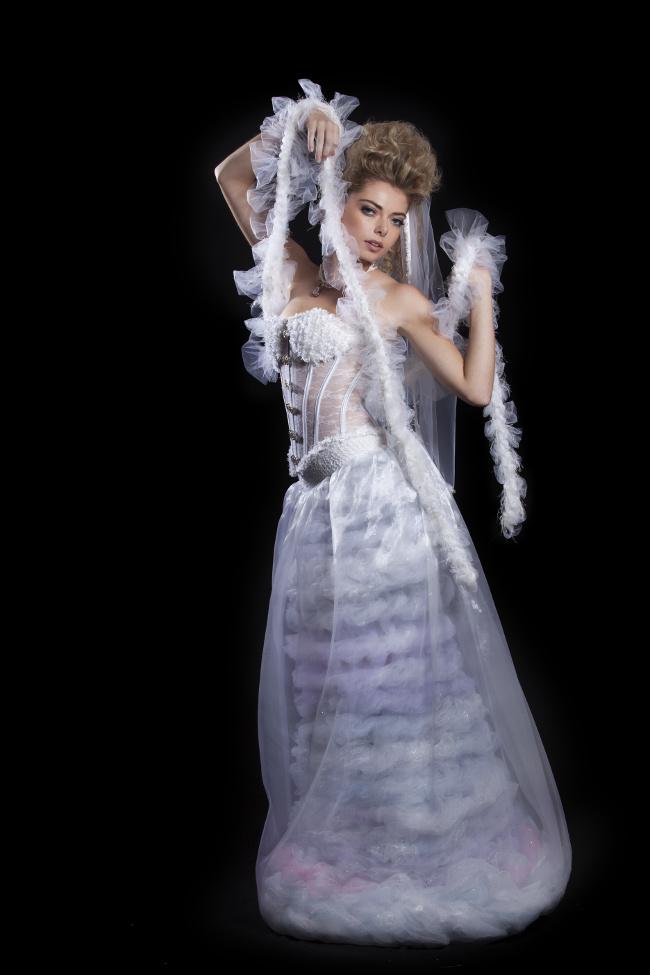 j-na couture tulle fantasy haute wedding dress chanel 80's inspited unique fashion.