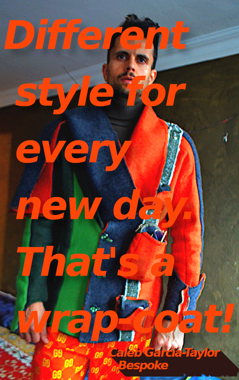 The wrap-coat styled overcoat orange green wool overcoat. Style 6.