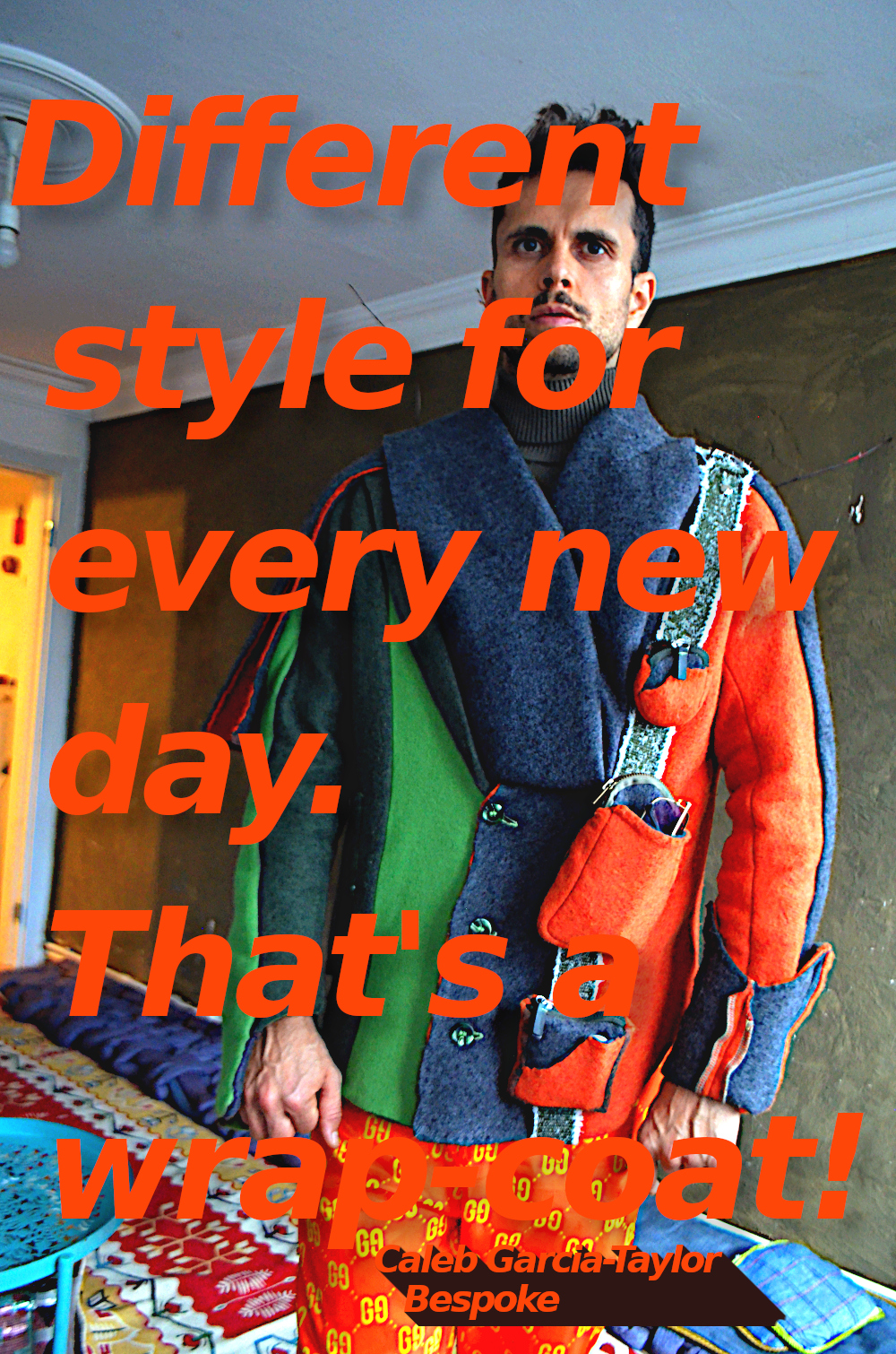 The wrap-coat styled overcoat orange green wool overcoat. Style 8.