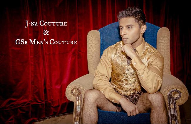 Hombre GSB Couture Looks Brocade chaleco y pantalones cortos de piel.
