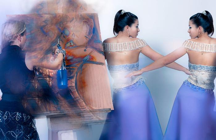 Couture editorial Cloud Orchid publicación Art con couture j-na con cristales de Swarovski y Misa de arte con pátina pintado, biselado y cobre molido.