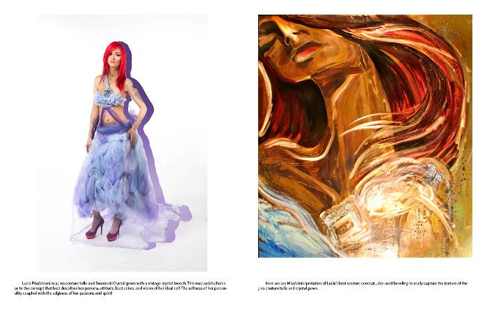 El editorial fotografía de moda con j-na couture Misa Arte en tul vestido de fantasía Swarovski. Nube Orchid Mag Arte
