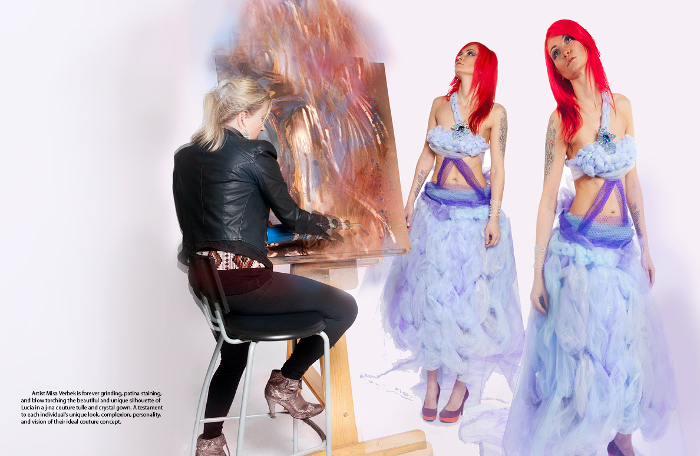 j-na couture art in lilac and soft icy pastels. A cloud of beauty fluffy against a punk rock style.