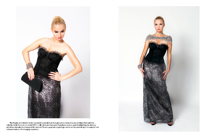 j-na couture cloud orchid editorial couture empowerment Swarovski crystal mini-wrap french European lace corset.