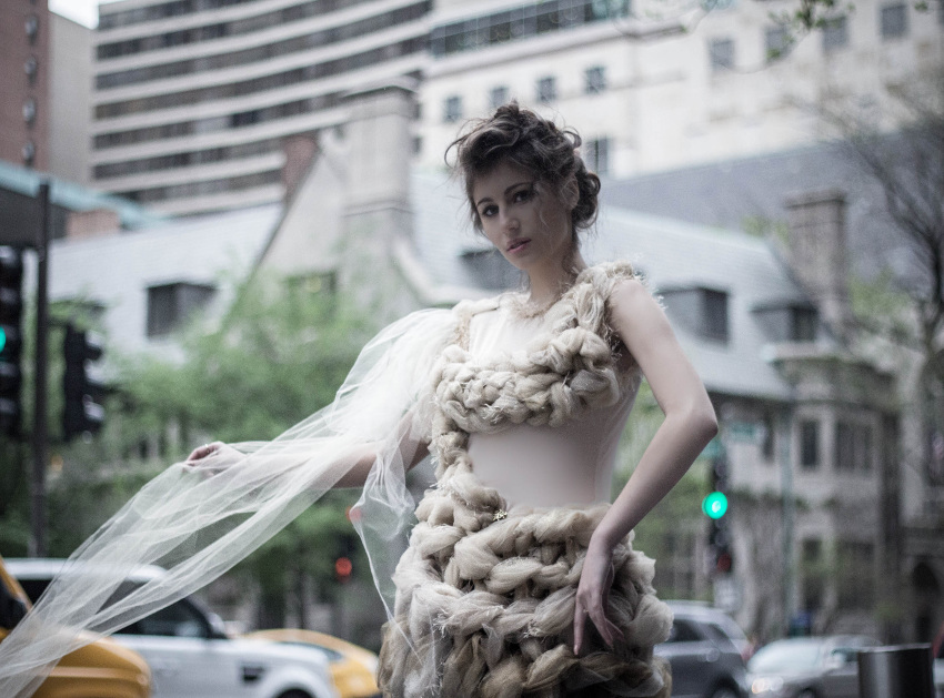 Couture Tulle Gown on the Miracle Mile Chicago by j-na couture.