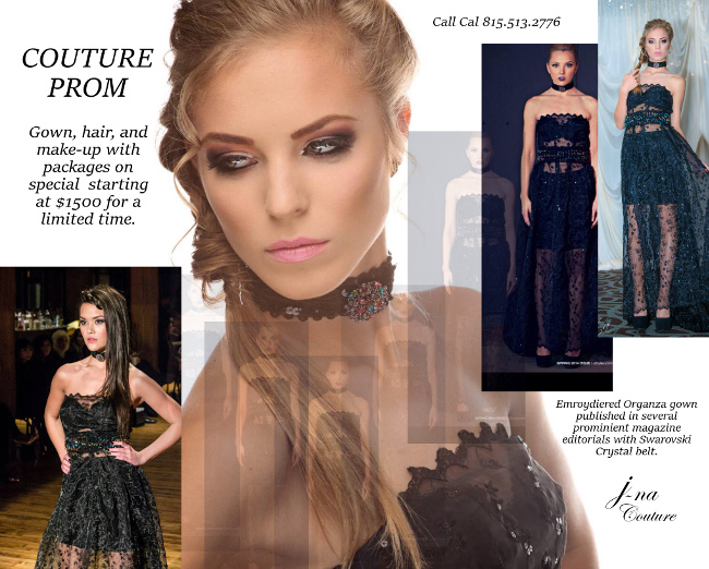 Couture Prom Advertizment package with hair and Makeup consultation.