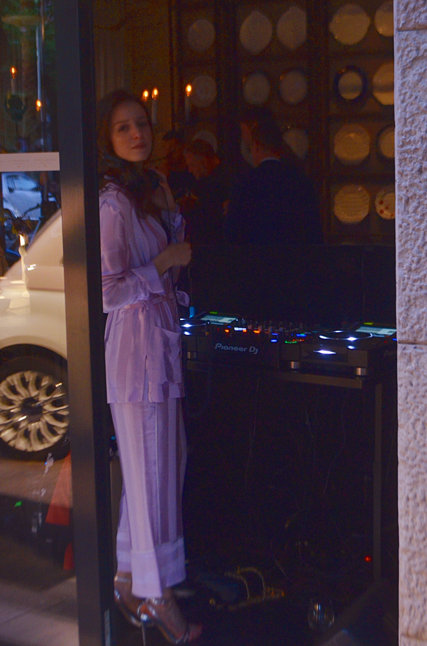 This DJ at the Dolce and Gabanna industry event party had an amazing pink two piece oversize jumper suit.