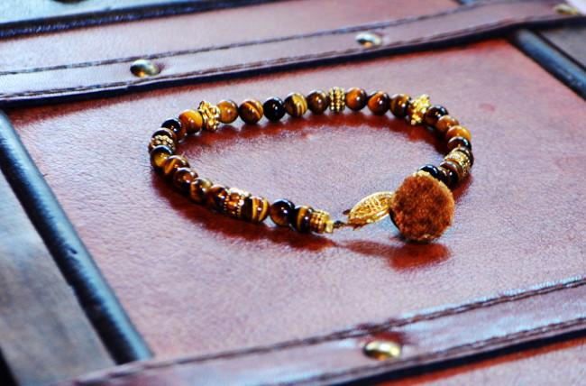 Eye of the Tiger Men's Tiger Eye Stone Smartwear bracelet. Click Photo to Enlarge Design.