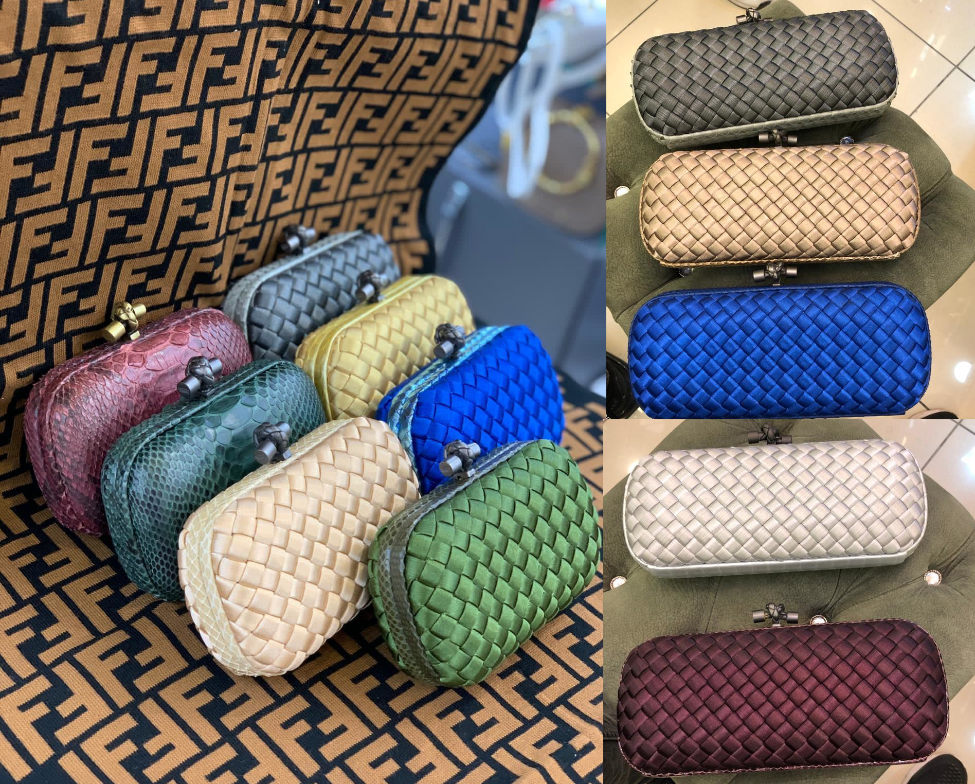 Fendi's tiny clutch and case in the woven leather is so versatile and the colors are wonderful to make any outfit stand out.