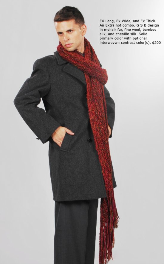 Men's EXTRA large hand knit couture scarf. GSb- no two made the same. This design in berry, hunter, and old gold.