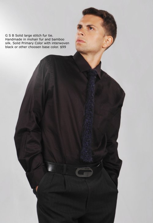 GBb Fur Mens Tie in Alpaca and Silk. Handmade-to-measure.