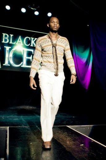 GSb Men's Couture hand knoit sweater and linen pants with fur tie 2012 runway.