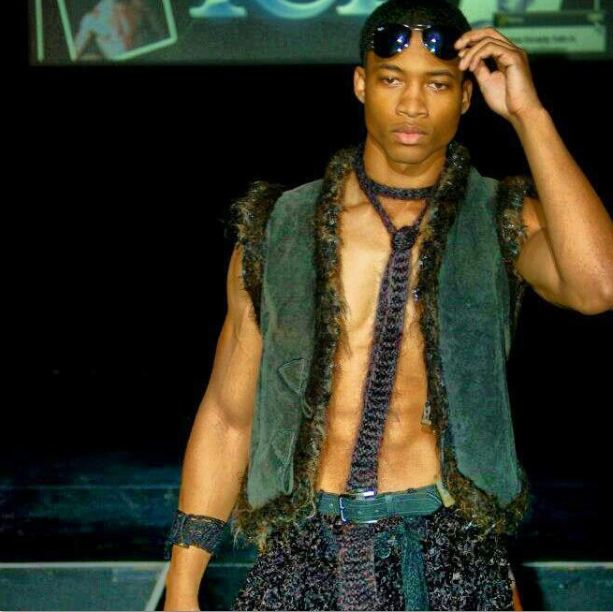 GSb Men's Couture 2012 runway, real fur everything from the tie to the vest, to the pants, oh and Ray Bans, no fur.