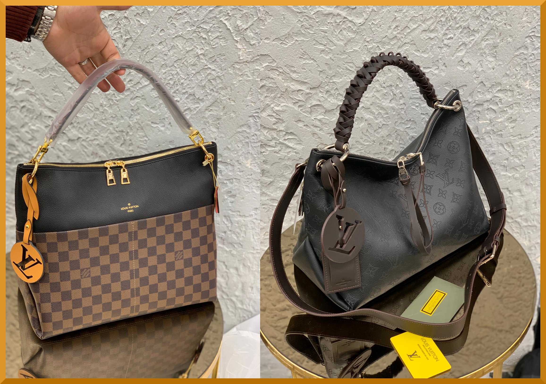 I love the folds and the braided leather handle on these Louis Vuitton high fashion tote bags this season.