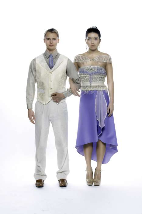 Couture couple blue Swarovski linen silk.