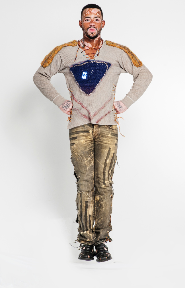 Eco-Couture The LED NFC Tech Grunge Henley with rocker jeans.