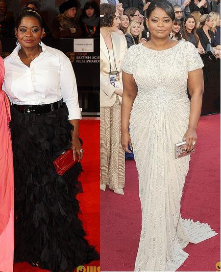 Para los próximos dos ejemplos de Octavia, ¿cuál de estos vestidos halaga más?