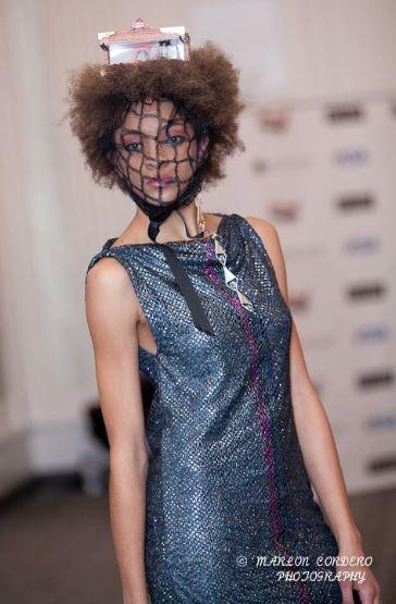 Alien princess j-na couture 2013 runway shot Corso Studios LED head-piece tropical wood box.