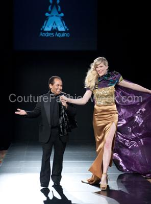 Here is the designer Andres..with a royal gold and purple cape model...isn't he so cute?
