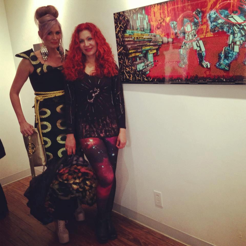 Marjan Moghaddam at her art show was out done by her fellow artist and friend Cristy's j-na couture gown.