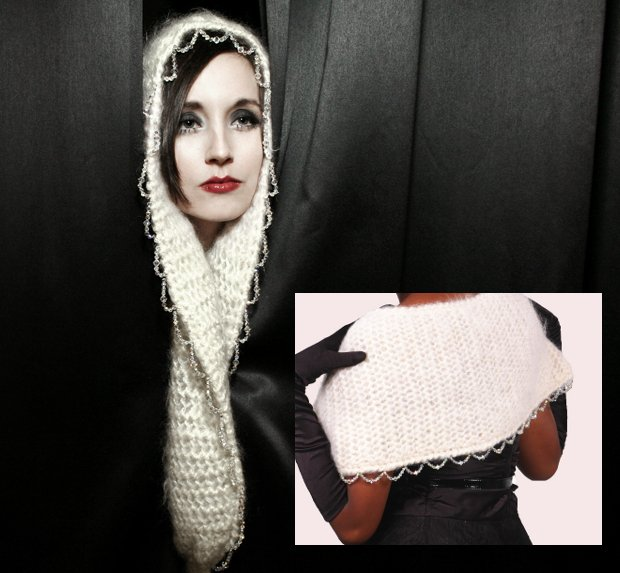 j-na couture compassionate fur bridal shawl with Swarovski Crystals 2012