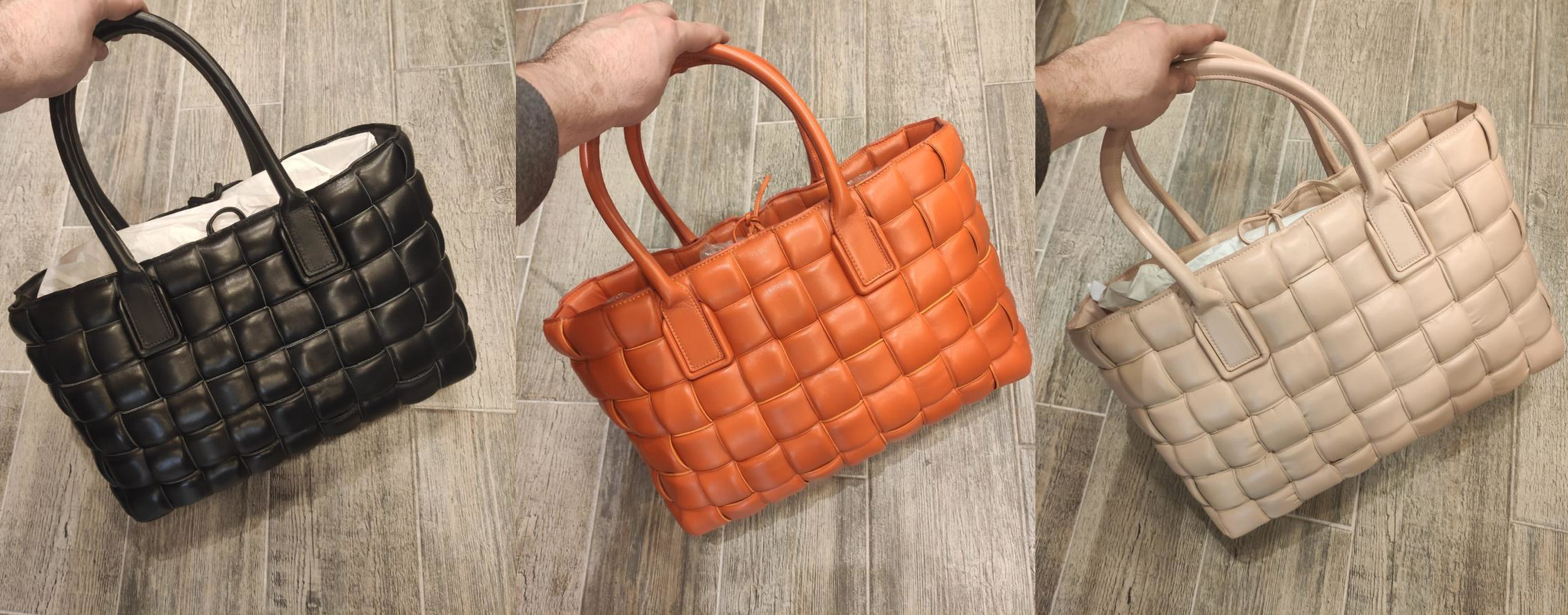 Bottega Veneta Large woven leather strip high fashion tote bags in a variety of colors.