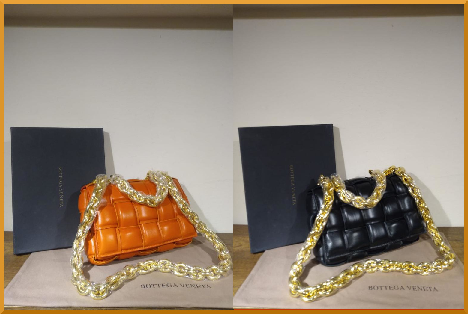 Bottega Veneta woven leather strip bags with oversized chains new for this seasons high fashion tote bags.
