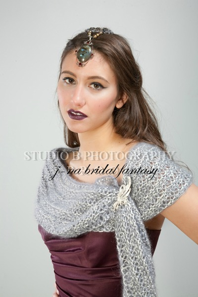 2012 headpice gemstone persian princess j-na couture and bridesmaid cape in kidd mohair and silk.