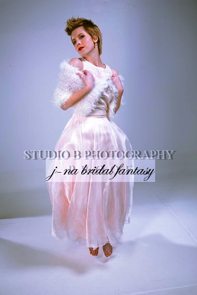 j-na bridesmaid caplet in pink and white compassionate and faux fur