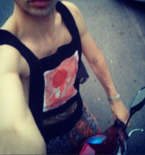 Street Style on my Electric Bicycle, with my friend Cristy's Art Bear on solar printed and developed on the eco-couture tank.