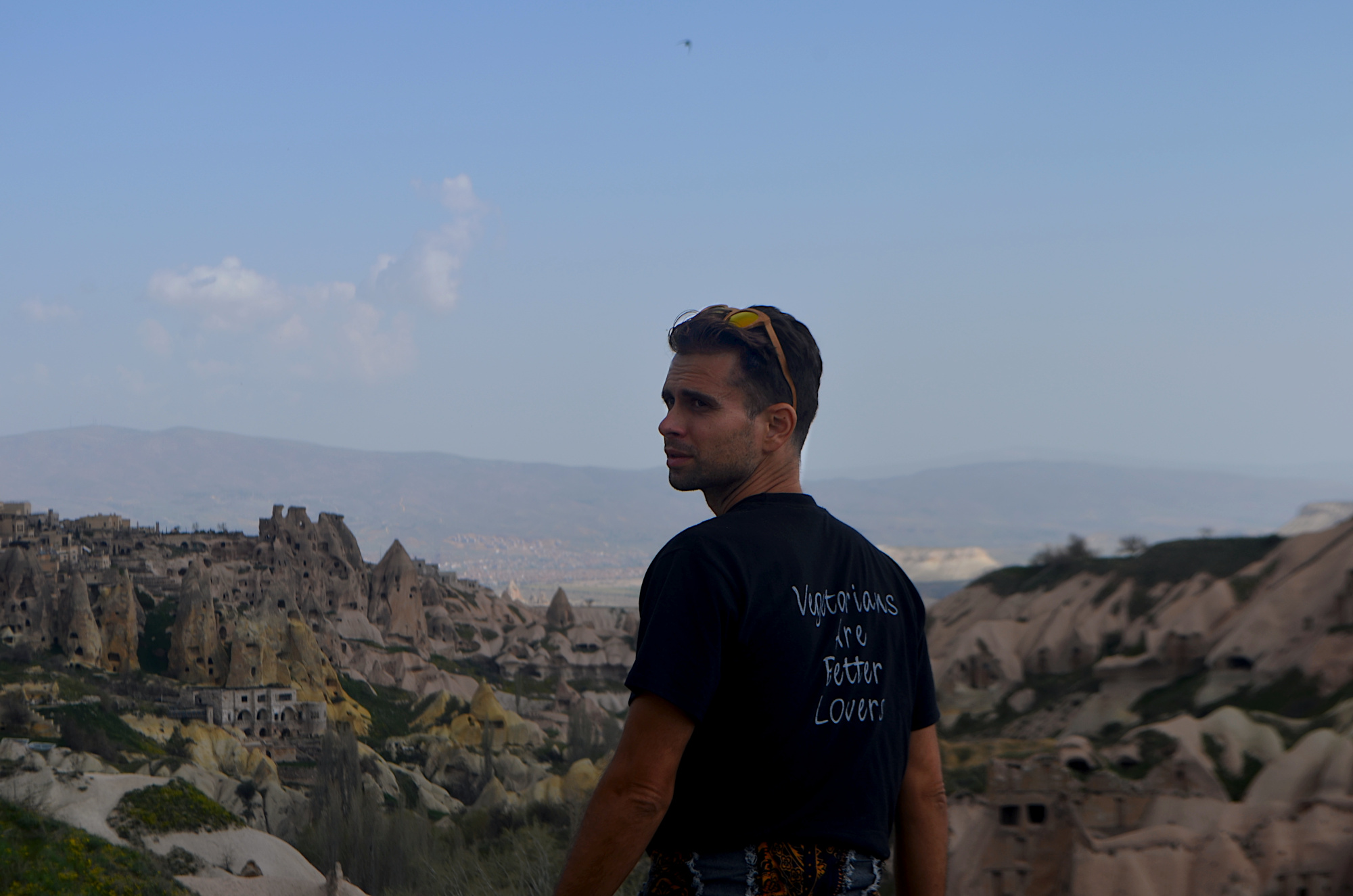 Panoramic view from Cappadocia Turkey where the cave cities still live.