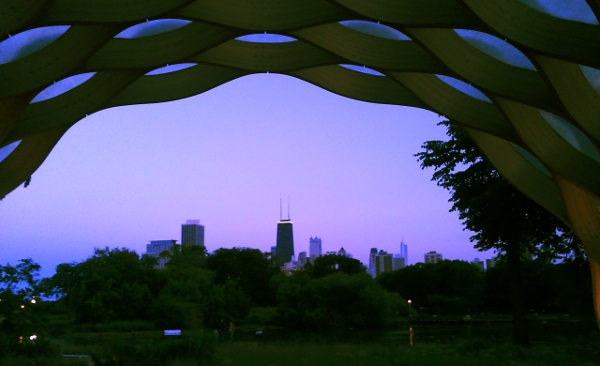 south pond pavilion and cityscape chicago