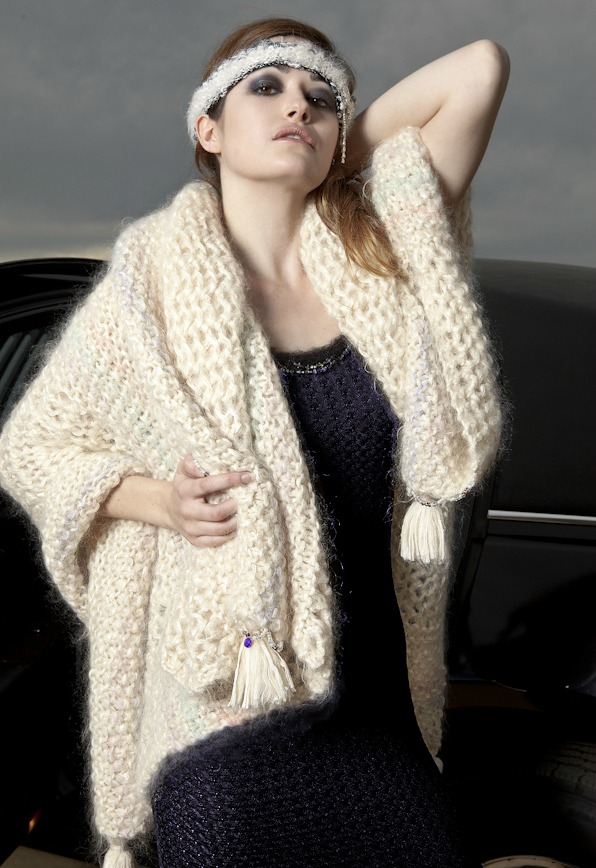 j-na treasures wrap is the ultimate in custom luxury in hand knit compassionate fur and silk it is the choice that is Eco-friendly. Real gold and gem embellishments.