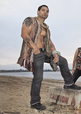 GSb hand made sweater vest in a rugged hippy style made from 20 silks and mohair