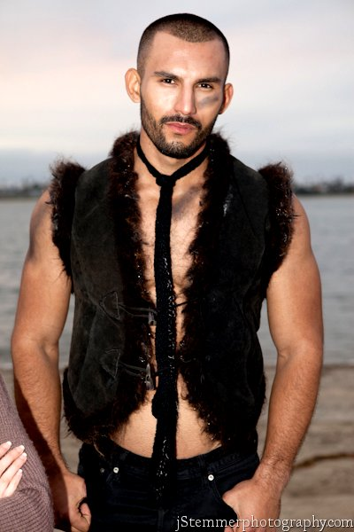 Wild animal fur fringe mens couture vest