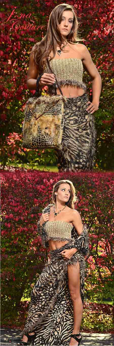 j-na haute couture separates animal print hand-knit top and accessories