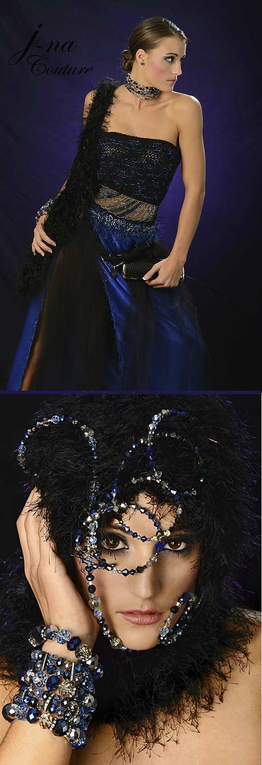 j-na couture haute couture two piece gown 2012 handmade jewelry and accessories