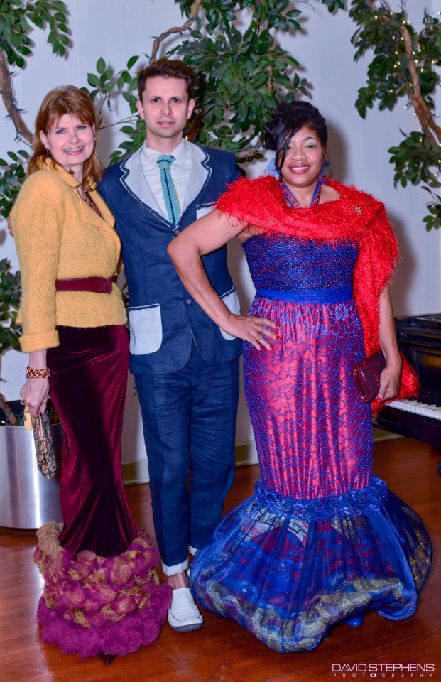 Cal and J-na with Elenor at a Gala in j-na couture.