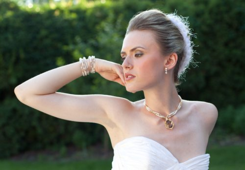 Couture jewelry torsade in gold, pearls, and smokey topaz. j-na couture jewelry.