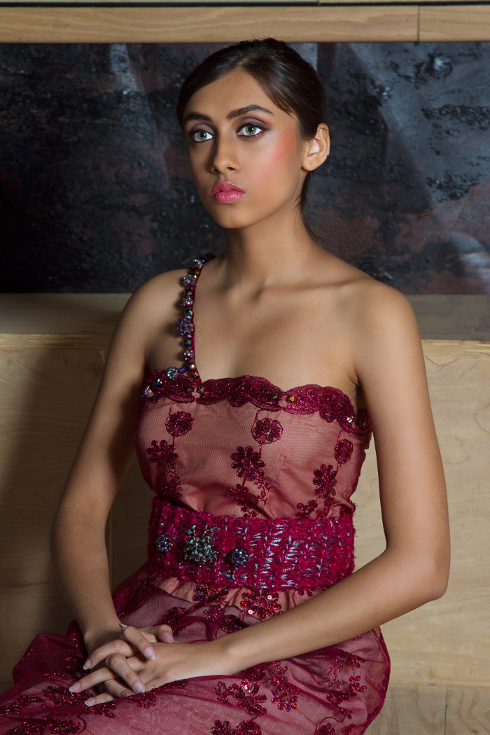 j-na couture smartwears evening gown with Swarovski embellishments. A discreet way to pay and share information.