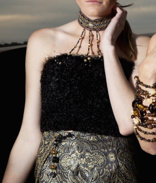 Detalles de ornamentos del vestido couture coleccion j-na.