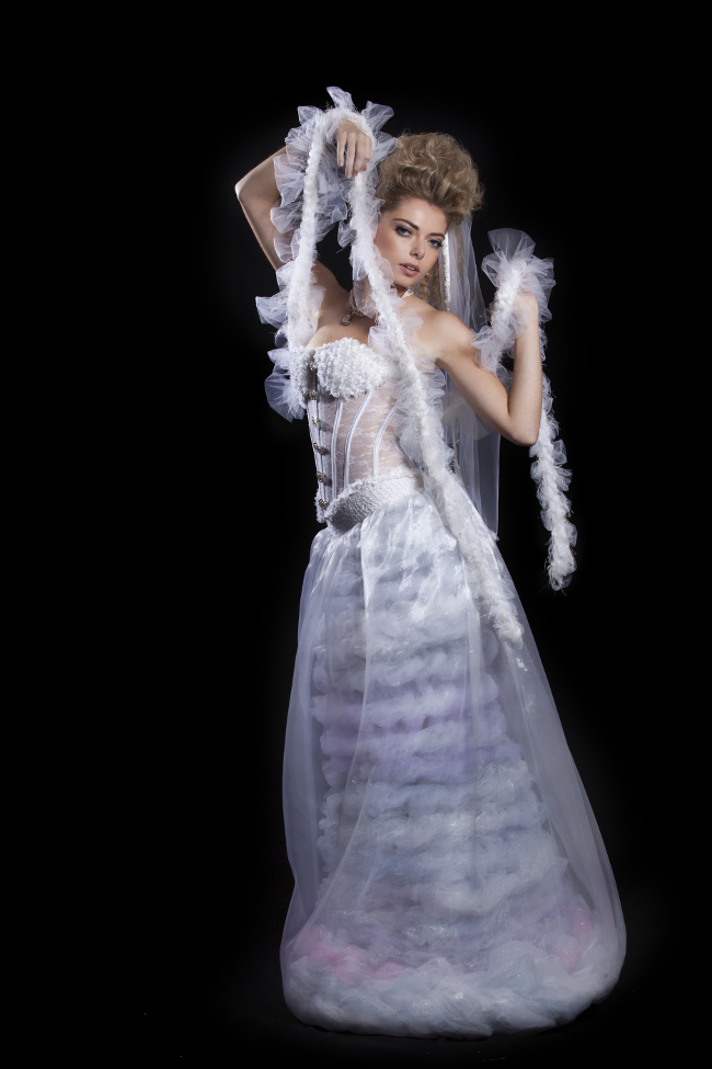 j-na couture tulle fantasy haute wedding dress chanel 80's inspited unique fashion.