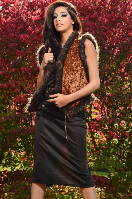 Couture Vest in Velvet  and real compassionalte fur trim. j-na haute couture.