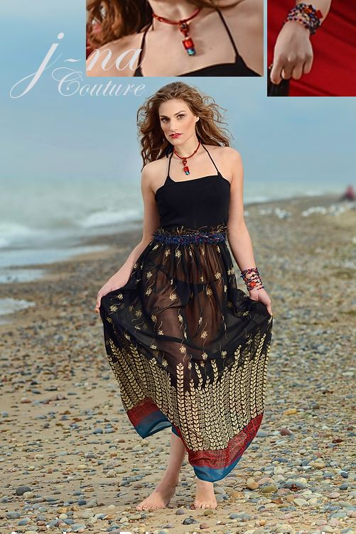 Sexy sheer print beach sun dress j-na couture 2013 doubles as skirt.