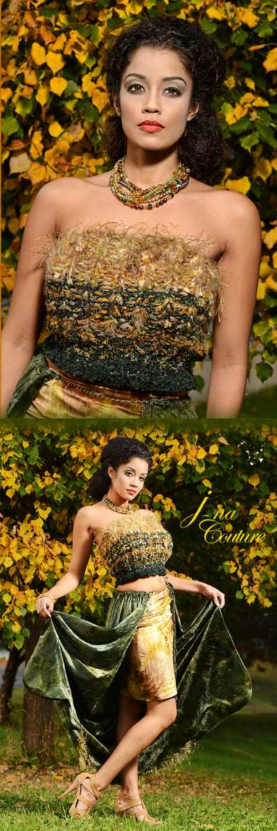 Three Piece haute couture gown in mohair velvet silk and with pearl torsade