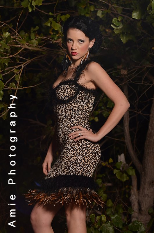 j-na couture evening wear 2012 leopard feather party dress.
