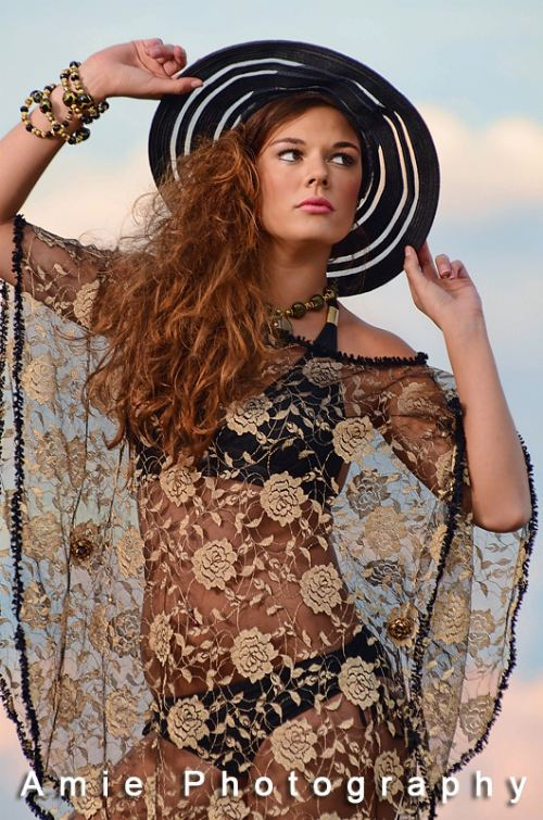 beach cover up in roses lace, navy and gold fur fringed with magnetic buttons. j-na resort 2012.